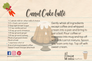 Carrot Cake Latté recipe card
