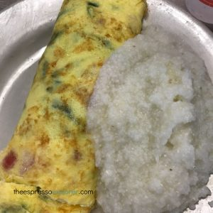 Omelet and grits for breakfast at Mother's Restaurant in New Orleans