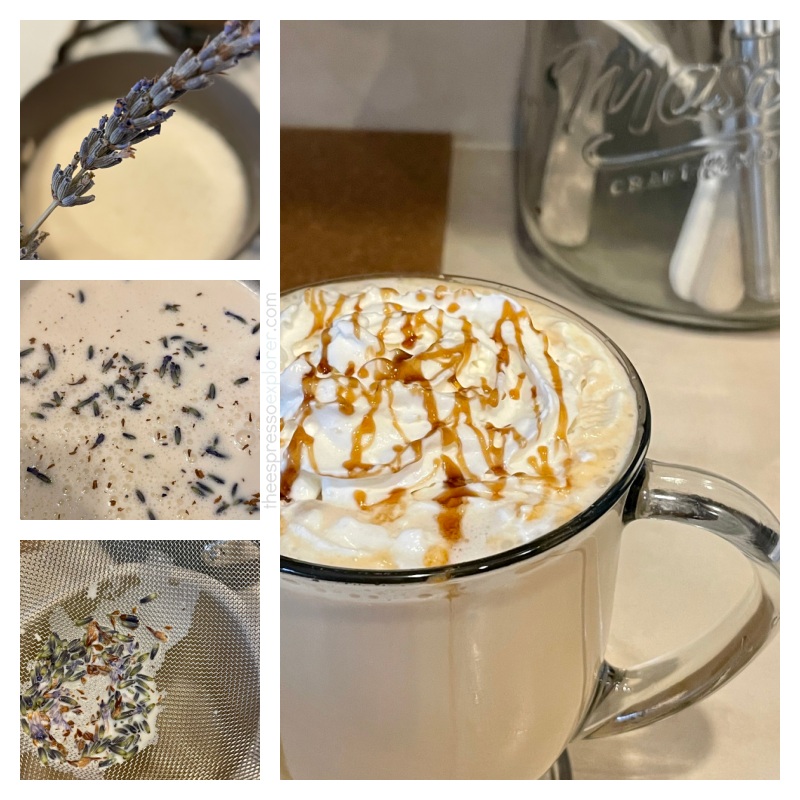 Steps to make a lavender honey white mocha
